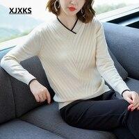 XJXKS 2018 fall fashion pullover designer sweaters knits women korean style high elasticity v neck womens pull femme jumper