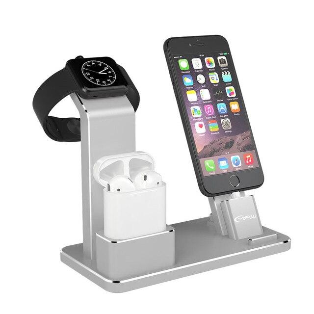 YFW 4 в 1 AirPods аксессуары зарядная станция зарядки держатель для Apple  Watch телефон стенд для 9142d62774e26
