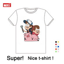 Boys and Girls Gravity Falls Cartoon Mabel Dipper Pine Print T Shirt Kids Funny Clothes Enfant Summer Short Cotton White T-shirt