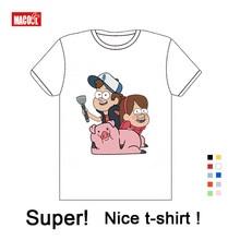 Boys and Girls Gravity Falls Cartoon Mabel Dipper Pine Print T Shirt Kids Funny Clothes Enfant Summer Short Cotton White T-shirt цена