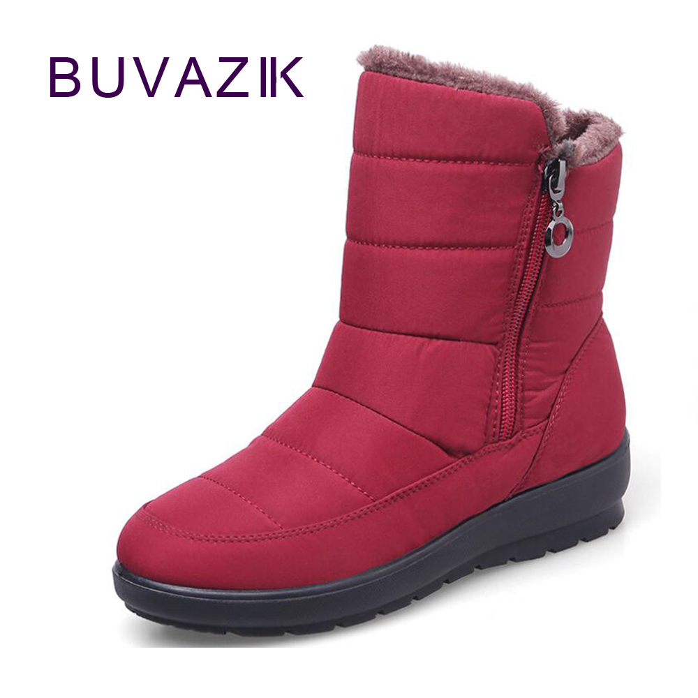 2017 winter warm waterproof women's snow boots female cotton shoes size 41 42 anti-slip sole