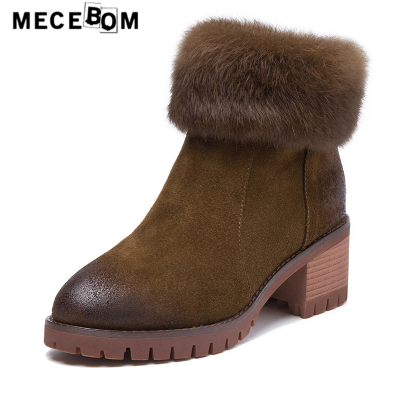 Women plush boots qualtiy split leather shoes new winter high heel snow boot ladies wedge shoes