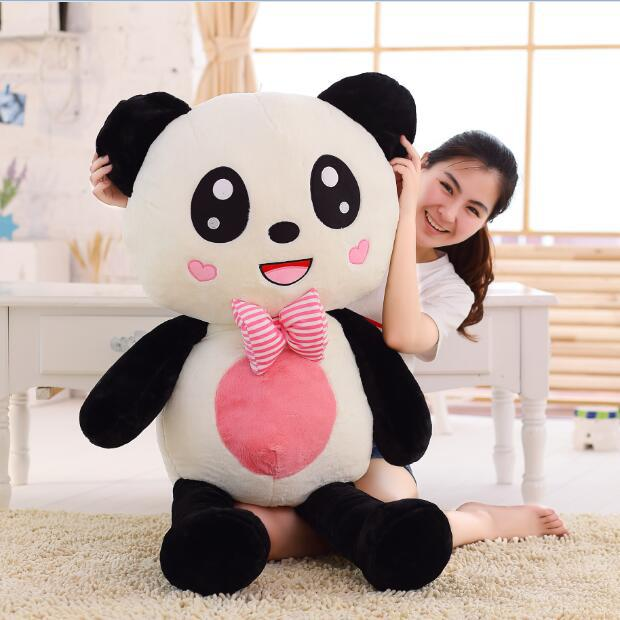 big creative new lovely plush panda toy bow red mouth panda doll gift about 120cm one piece huge plush simulation black killer whale toy new whale pillow doll gift about 120cm