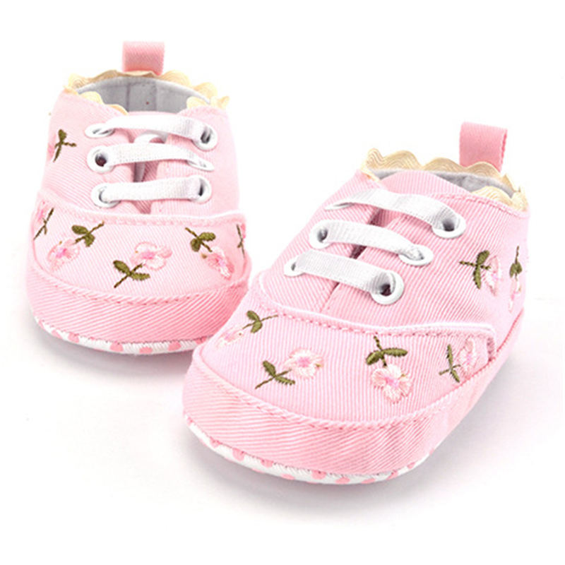 2020 Fashion Spring Autumn Baby Shoes For Newborn Print Floral Baby Girls Soft Sole First Walkers Anti-Slip Baby Shoes For 0-18M