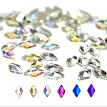 20Pcs/lot 6Colors Rhombus Flatback Rhinestone 6*10mm 3D Nail Art Crystal Stones For DIY art Decoration