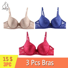 Maidy 3Pcs/Pack Full Lace Sexy Bra For Women Plus Size Bras Push Up Female Lingerie Deep U Underwear Plunge 34-52 B-C-D