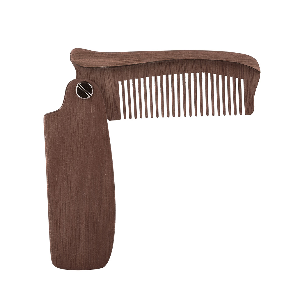 Multifunctional Beard Comb Hair Comb Brush Hairbrush for Men & Women Wood Folding Anti-static Moustache & Beard Comb Tools 2