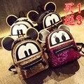Súper mochila lentejuelas 3D bolsas gato orejas de Mickey Mouse mochila bolsa grande lindo de la historieta Mini bolso Mochila encantadora Emoji
