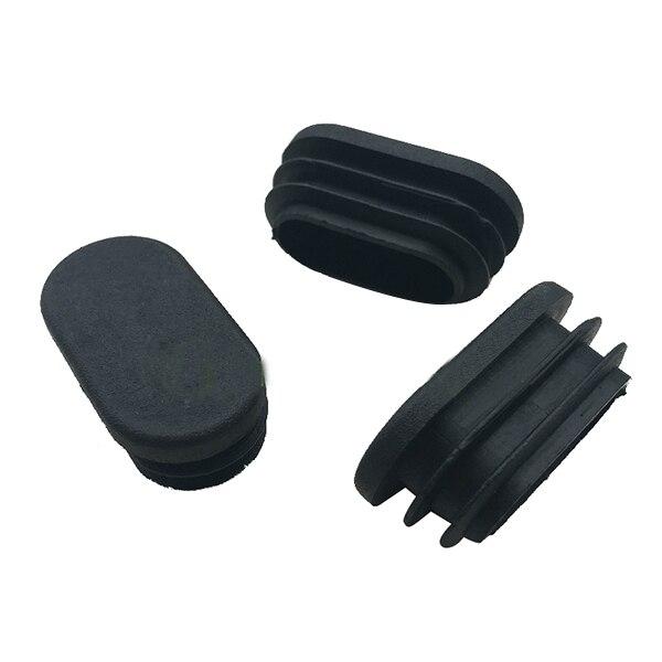 Oval Table Chair Leg Tube Pipe Insert End Cap 40mm X 20mm 20pcs Black