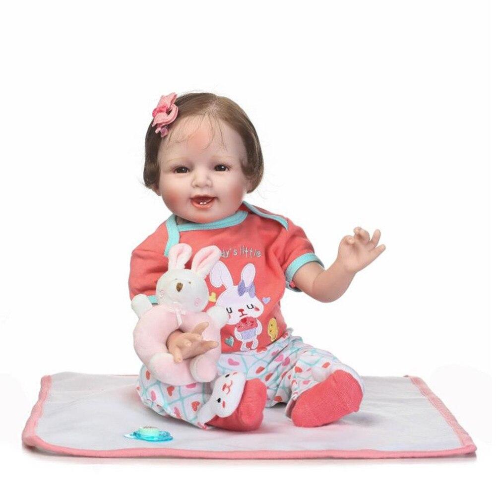 NPK 55 см ткани тела Кукла Мягкие Силиконовые Винил не токсичные игрушки Реалистичного новорожденных детские игрушки куклы младенец Reborn Baby Doll ...
