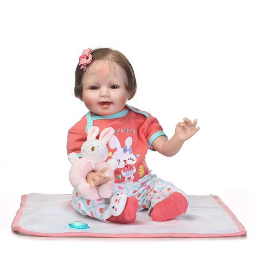 NPK 55cm Cloth Body Baby Doll Soft Silicone Vinyl Non-toxic Toys Lifelike Realistic Newborn Baby Doll Toys Babe Reborn Baby Doll ...