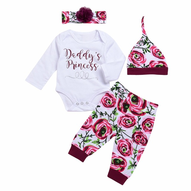 dbc3f5a706e4 Newborn Baby Girls Clothes set Flower Romper Daddy Princess letter Jumpsuit  Tops Pants Leggings Hat headband