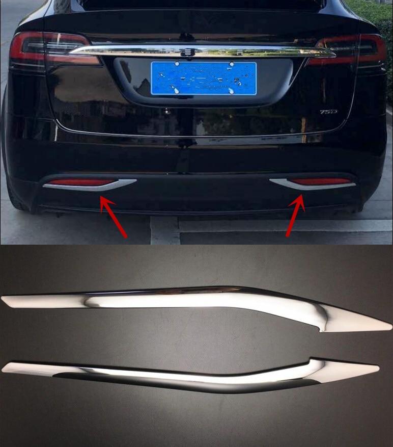 2 pièces D'antibrouillard D'arrière de Chrome D'ABS pour Tesla Model X 2016 2017 2018 Couvercle de lampe de voiture de Garniture De Décoration