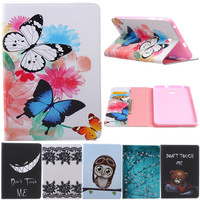 Butterfly Owl Cartoon PU Leather Flip Cover Cases For Samsung Galaxy Tab E 8 0 T377