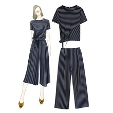 Fashion lady's elegant 2 pieces set stipe T shirts casual pants New 2019 summer comfortable short sleeve Leisure suit A239