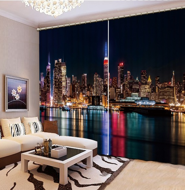 Rent Room New York: 3d Curtains Modern Luxury City Night View 3D Blackout