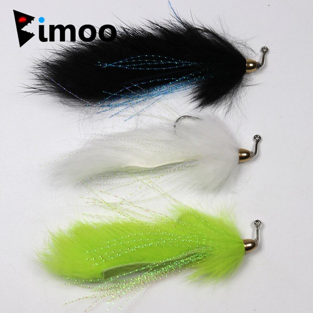 цена Bimoo 4PCS Size 1/0 Bass Pike Copper Beadhead Fly Fishing Streamers White Chartreuse Black