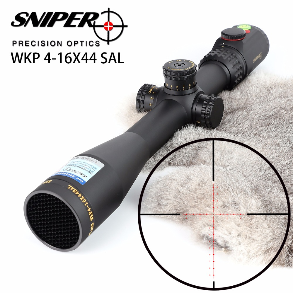 SNIPER WKP 4-16X44 SAL Hunting Rifle Scope Side Parallax Adjustment Glass Etched Reticle RG Illuminated With Bubble Level Optics