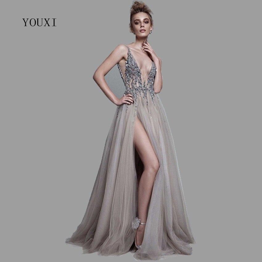 Сексуальное длинное вечернее платье с глубоким v образным вырезом и разрезом сбоку, Новое поступление 2019 года, блестящее платье с высоким ра