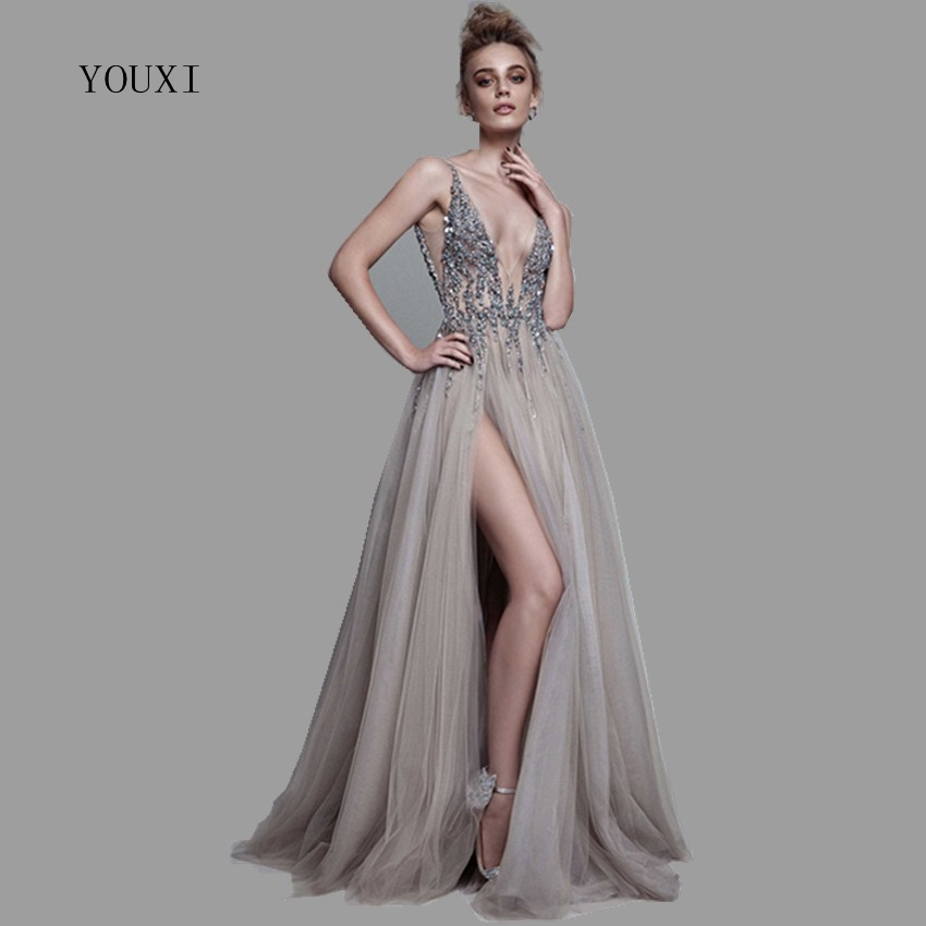 Sexy Col V Profond Côté de Split Longue Robe de Soirée 2018 Nouveautés Backless Scintillant Haute Fente Voir À Travers Abendkleider Lang