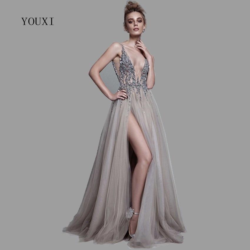 Sexy Deep V-Neck Side Split Long Evening Dress 2019 New Arrivals Backless Sparkly High Slit See Through Abendkleider Lang
