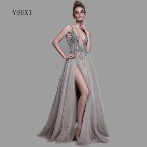 Image 1 - Sexy Deep V Neck Side Split Long Evening Dress 2020 New Arrivals Backless Sparkly High Slit See Through Abendkleider Lang