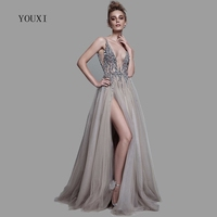 Sexy Deep V Neck Side Split Long Evening Dress 2018 New Arrivals Backless Sparkly High Slit See Through Abendkleider Lang