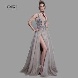 Sexy Profundo Decote Em V Side Dividir Vestido de Noite Longo 2019 New Arrivals Backless Sparkly Alta Fenda Ver Através Abendkleider Lang