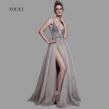 Sexy Tiefe V ausschnitt Side Split Lange Abend Kleid 2020 Neue Ankünfte Backless Sparkly Hohe Slit Sehen Durch Abendkleider Lang