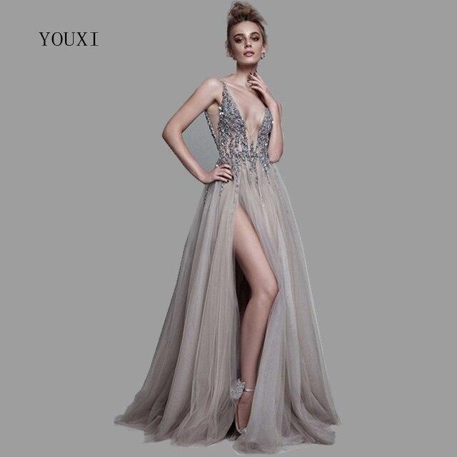 36923623f99 Сексуальное длинное вечернее платье с глубоким v-образным вырезом и  разрезом по бокам 2018 Новые
