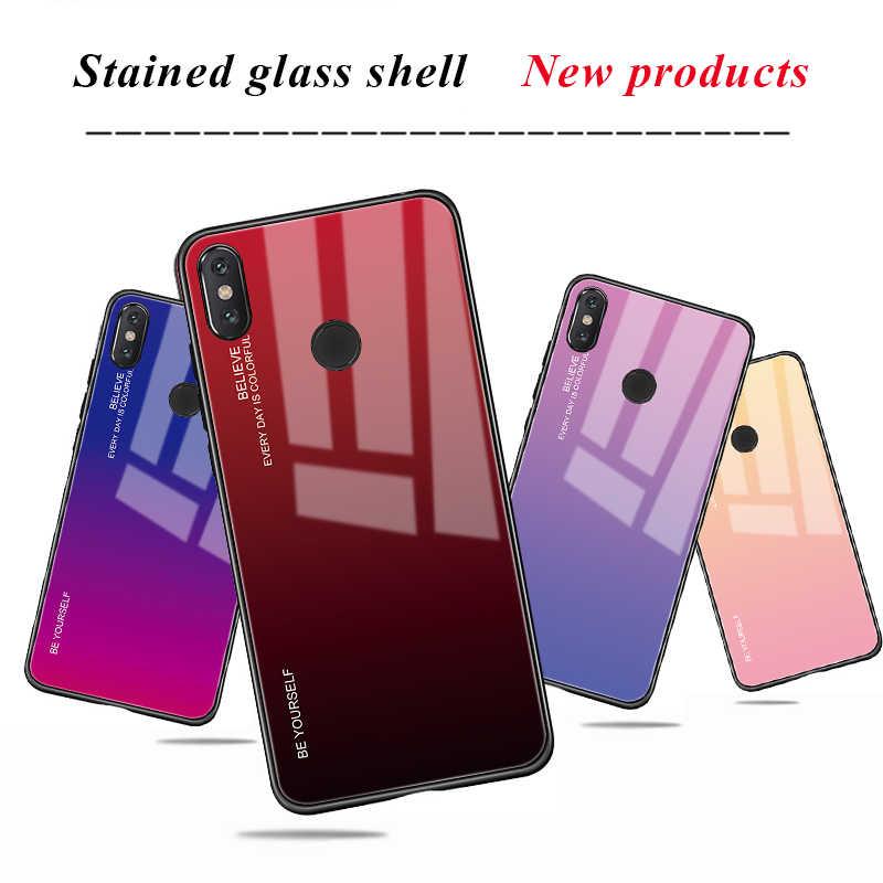 Vidrio templado para Xiaomi Pocophone F1 rojo mi nota 7 6Pro 5 Plus mi 8 mi A2 Lite 6X mi x3 A1 5X gradiente de Color Aurora cubierta