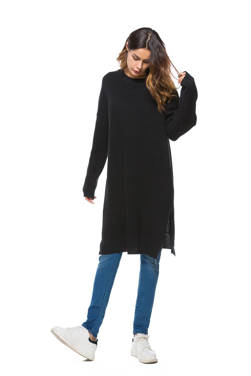 Fall Winter Vintage Mustard Side Slit Crochet Sweater Dress for Women Cute Ladies Retro Cosy Loose Split Pullover One Size 2