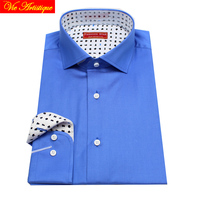 Male Long Sleeve Business Formal Dress Middle Blue Cotton Shirts Men S Big Size Casual Shirt