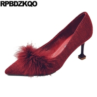 Fur High Heels Party Shoes Red Pointed Toe 2017 Thin Prom Size 4 34 Ladies Medium Feather Pumps Fashion Autumn Chinese China