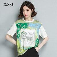 XJXKS summer tops for women 2018 new wild silk loose T shirt short sleeved round neck street wear printed green tshirt women