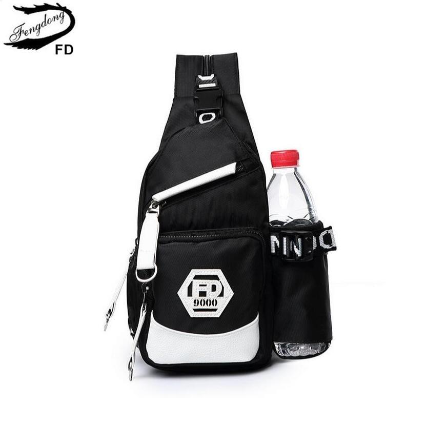 FengDong män liten vattenpåse ryggsäck minisäckar för pojkar multifunktionell pojke bröstväska svart och vit ryggsäck kvinnor dagpacka