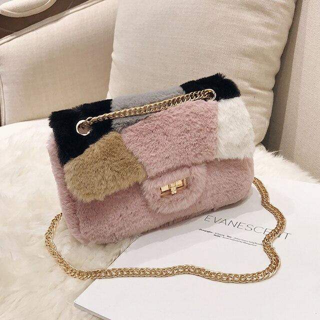 03a45959dfe8 Patchwork fabric flannel bag Like pig chains shoulder bags female mini  handbags for women leather handbags brand luxury designer