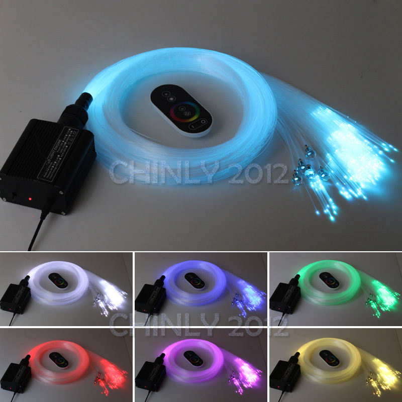 16W RGB Touch remote LED  Fiber optic light Star Ceiling Kit Lights 2M(0.75mm+1.0mm+1.5mm)+crystal  10w rgb light with remote control special wholesale 10w infrared remote fiber optic lights