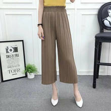 Ladies Pleated Chiffon Flax Wide Leg Pants Elastic Waist Trousers Casual Pants High Elastic Waist Chiffon Pleated Trousers(China)