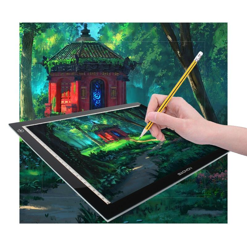 все цены на Promotion GAOMON Light Pad Lighting Boxes LED Tracing Boards Professional Animation Drawing Tracing Panel Free Shipping онлайн