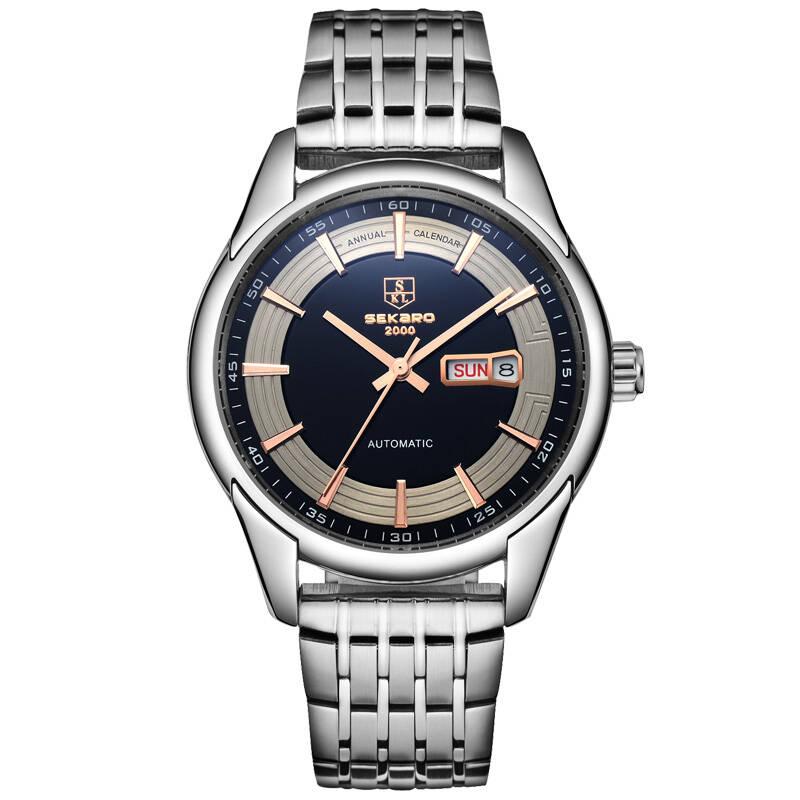 SEKARO DV Switzerland watches men luxury brand automatic mechanical watch male watch steel calendar bracelet waterproof цена 2017