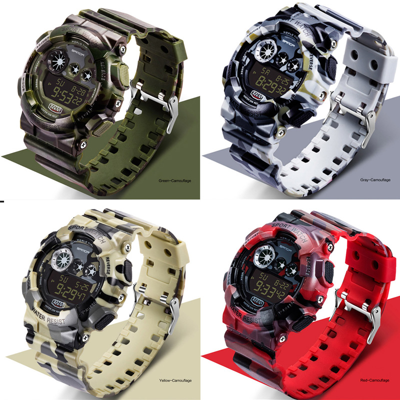 Digital Watches Sanda-Designed Men Sport Camouflage Military Waterproof Electronic Men's