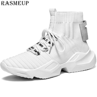 RASMEUP Plus Size 36 44 Women Men Sock Sneakers 2019 Spring Summer Knitted Soft Women's Shoes High Top Platform Woman Footwear