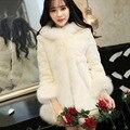 Новый 2016 Плюс Размер Женская Одежда 4XL 5XL Зима Искусственный экономика Норковая Шуба с капюшоном Роскошный Искусственный Мех пальто
