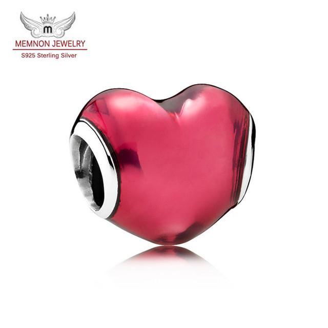2016 Nuevo San Valentín 925-Sterling-Silver encantos del esmalte rojo Del encanto del Corazón cupieron la pulsera DIY Memnon Joyería fina MN823