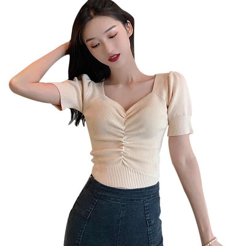 2019 夏の女性の Tシャツ半袖カジュアルニット Tシャツセクシーな V ネックパフスリーブ女性 Tシャツ camiseta mujer