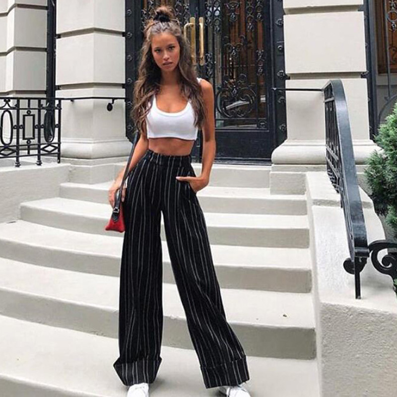 IAMGIA MIRA High waist Loose stripe Black wide leg long pants women Summer streetwear trousers Chic sash casual pants female