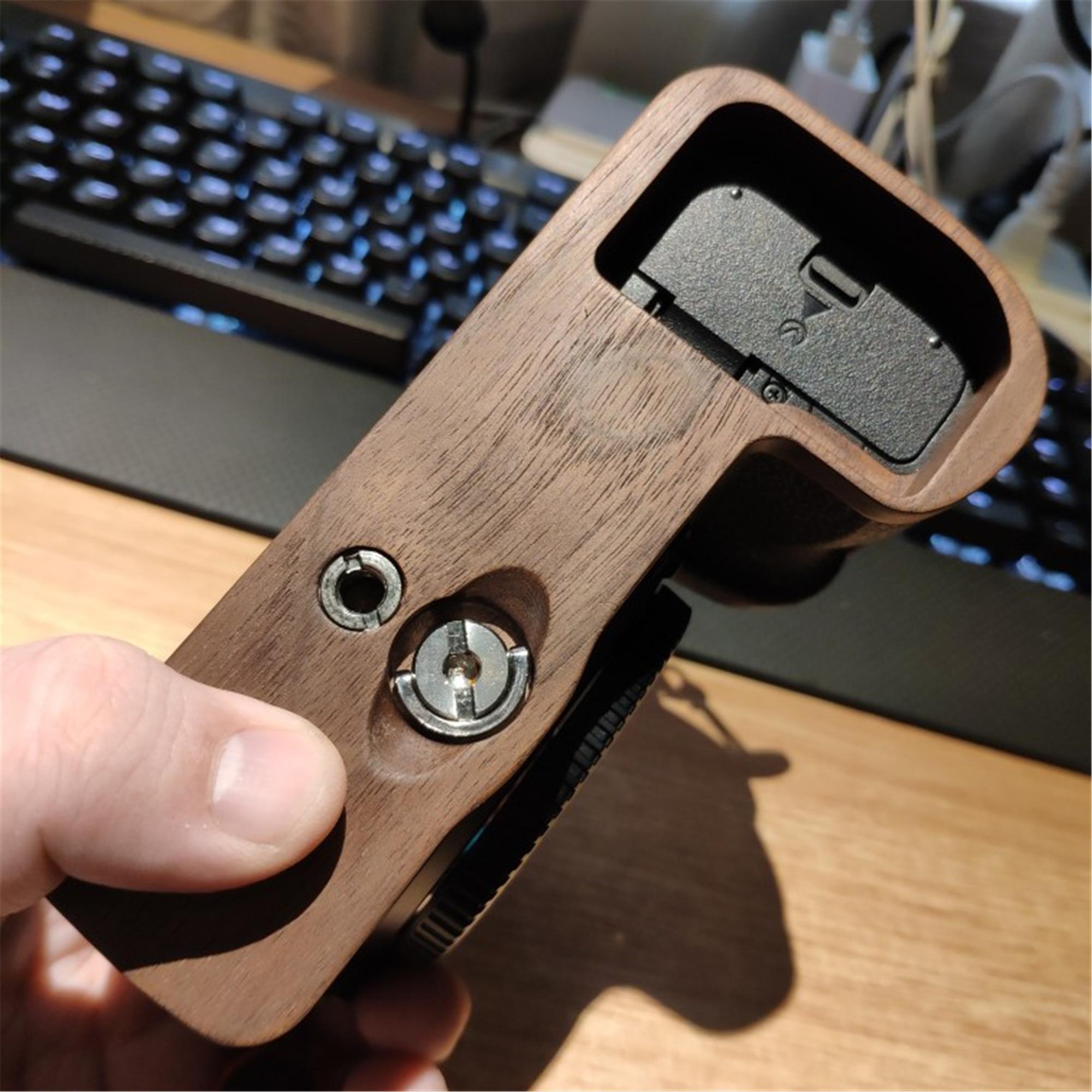 Wooden Wood Hand Grip Plate Bracket Base Plate For Nikon Z6 Z7 Arca Sunway Benro|Tripod Monopods| |  - title=