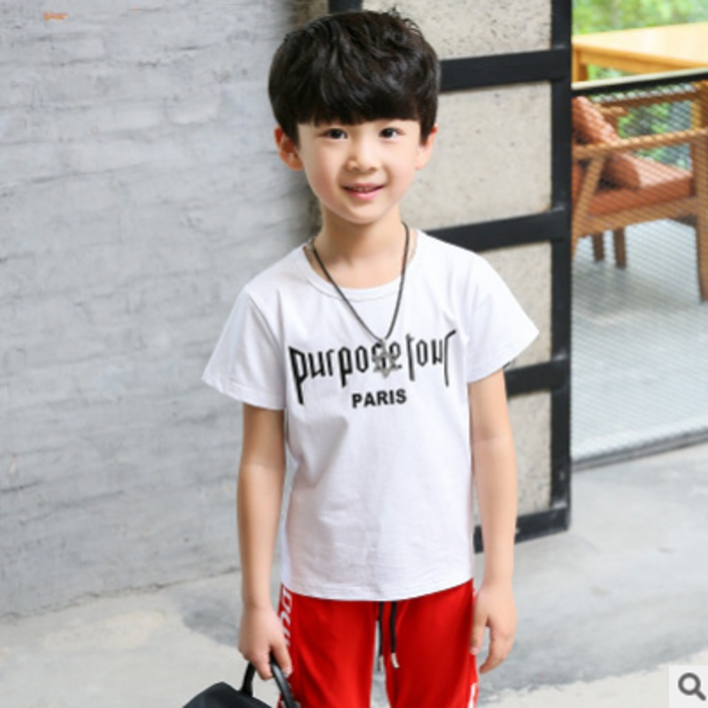 Boys Sports Clothing Set 2018 New Summer and Spring Kids Clothes Sets Children Clothing Sets 3 Letter Colors Size110-160 ly032 kids boys girls sets new children clothing sports short pants 2pcs kids clothes baby 2018 spring summer tracksuit
