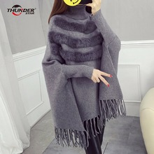 Фотография Women batwing sleeve tassel hem knitting pullovers turtleneck cloak sweater 2017 women tricot cape poncho autumn winter jumper
